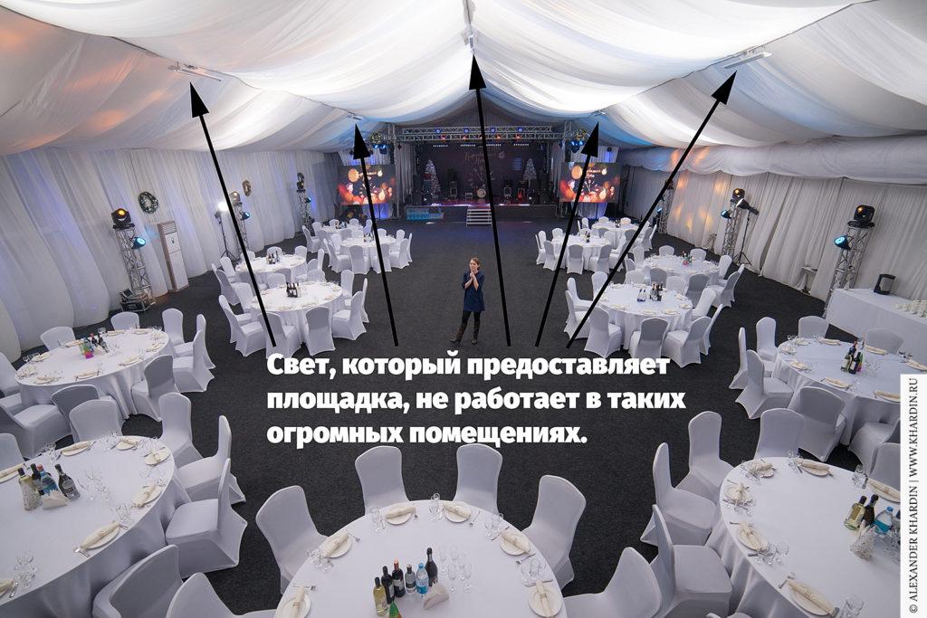 Ивент-площадка на несколько сотен гостей в реальности освещается несколькими дежурными лампами.