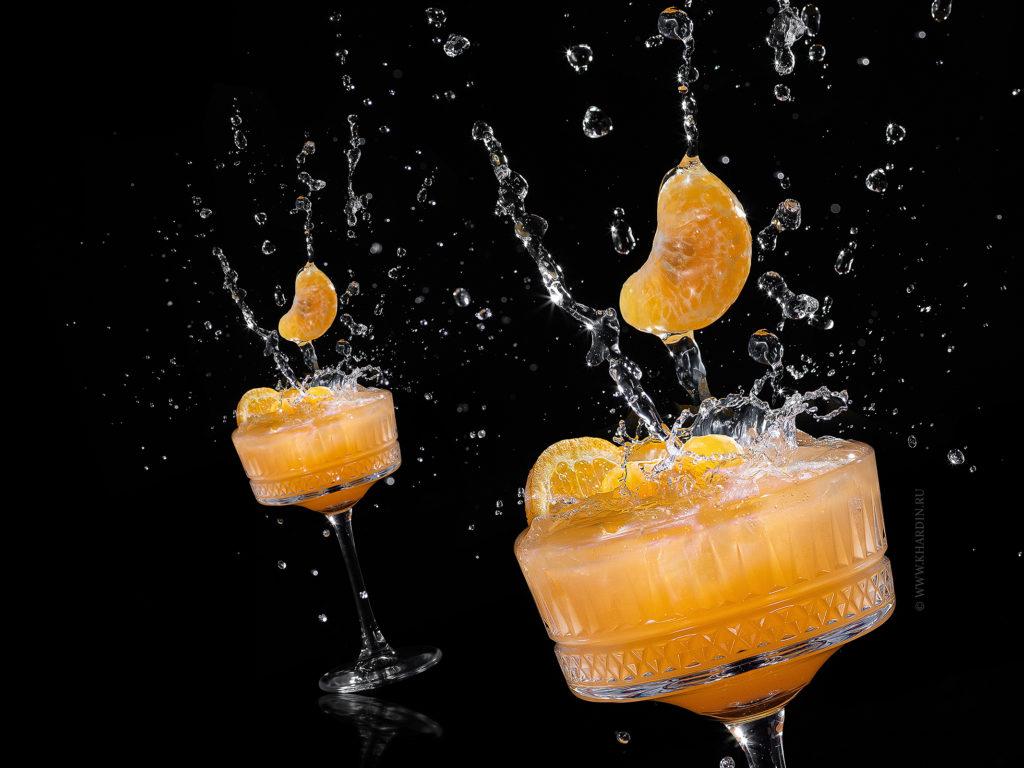 Фуд-фотография коктейлей для меню бара | Tangerine cocktail with splashes