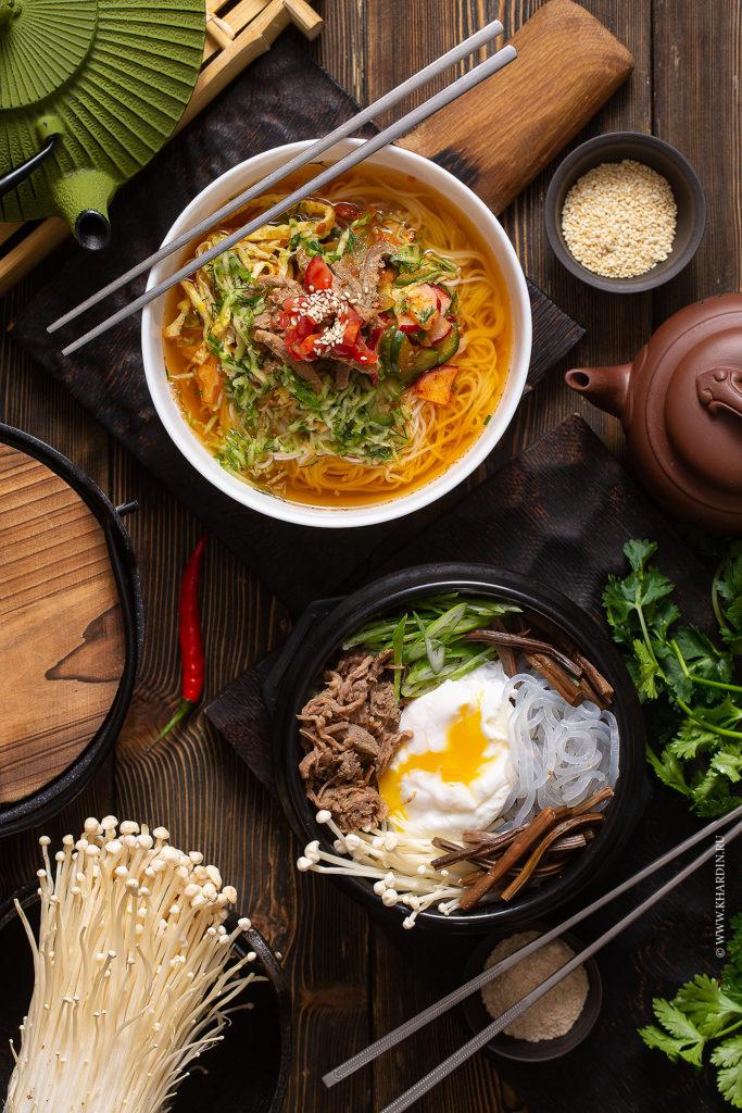 Корейская еда | Суп фо бо | Фудфотография пибимпаб